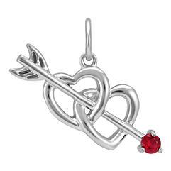 Round Ruby Cupid's Arrow & Hearts Charm