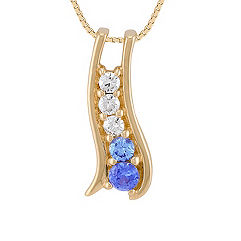 Round Multi-Colored Sapphire and Diamond Pendant (18 in.)