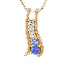 Round Multi-Colored Sapphire and Diamond Pendant (18 in.)