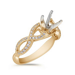 Infinity Cathedral Diamond Engagement Ring in 14k Yellow Gold with Pavé Setting