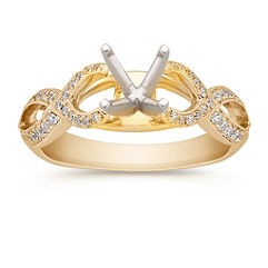 Infinity Cathedral Diamond Engagement Ring in 14k Yellow Gold with Pave Setting