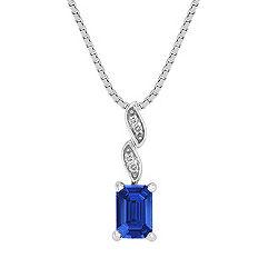 Emerald Cut Sapphire and Diamond Pendant (18 in.)
