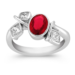 Oval Ruby and Calla Cut Diamond Ring