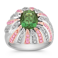 Oval Green Sapphire, Round Pink Diamond, and Round Diamond Ring in Two-Tone Gold