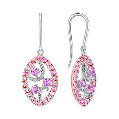 Pink Sapphire and Diamond Earrings in White and Rose Gold