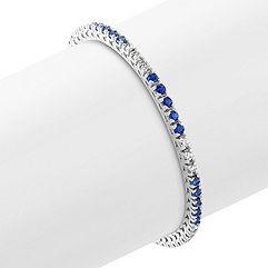 Round Sapphire and Diamond Tennis Bracelet (7 in.)