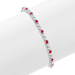 Round Ruby and Diamond Line Bracelet (7 in.)