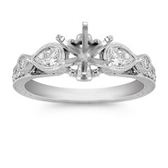 Vintage Pear Shaped and Round Diamond Engagement Ring