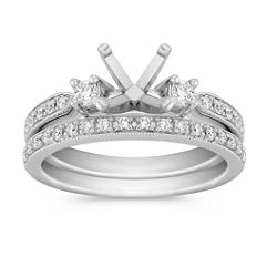 Three-Stone Round Diamond Wedding Set with Pave Setting and Milgrain Detailing