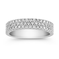 Triple Row Round Diamond Wedding Band