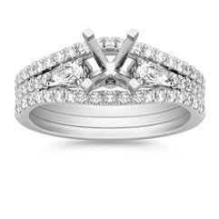 Three-Stone Pear Shaped and Round Diamond Wedding Set