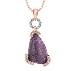 Polished Rough Ruby and Round Diamond Pendant in White and Rose Gold (18 in.)