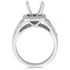 Halo Princess Cut Sapphire and Round Diamond Engagement Ring