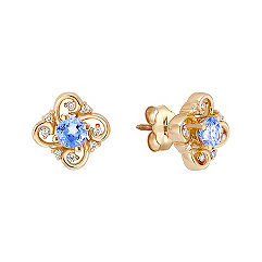 3/4 ct .t.w. Round Ice Blue Sapphire and Diamond Earrings
