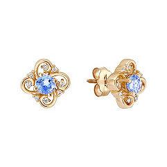 Round Ice Blue Sapphire and Diamond Earrings