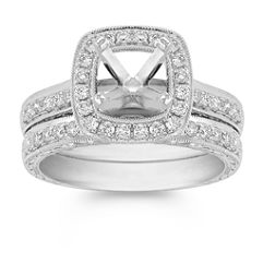 Halo Vintage Diamond Wedding Set