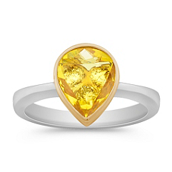 Pear Shaped Yellow Sapphire and Round Diamond Ring in Two-Tone Gold
