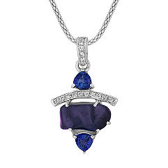 Polished Rough Sapphire, Trillion Sapphire and Round Diamond Pendant (18)