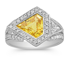 Trillion Yellow Sapphire and Trillion and Round Diamond Ring