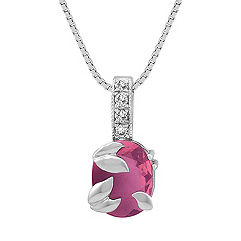 Oval Pink Sapphire and Round Diamond Pendant (18 in.)