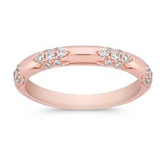 Round Diamond Wedding Band in Rose Gold