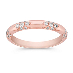 Round Diamond Wedding Band in Rose Gold