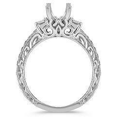 Princess Cut Diamond Engagement Ring with Pavé Setting