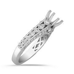 Milgrain Framed Round Diamond Engagement Ring