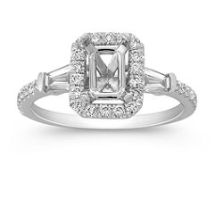 Halo Baguette and Round Diamond Engagement Ring
