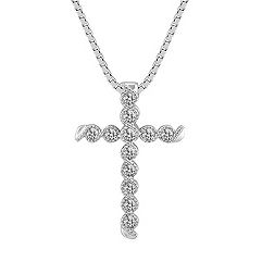 Wrapped Round Diamond Cross Pendant (18 in.)