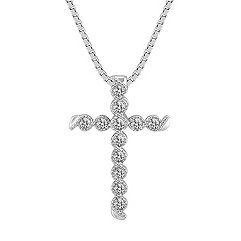 Wrapped Round Diamond Cross Pendant (18 in.)