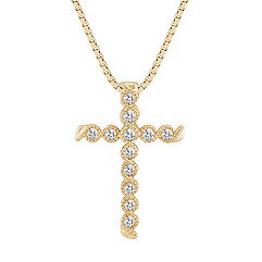 Round Diamond Swirl Cross Pendant in 14k Yellow Gold (18)