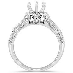 Cathedral and Milgrain Crossing Diamond Engagement Ring with Pavé Setting