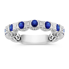 Round Sapphire and Diamond Wedding Band