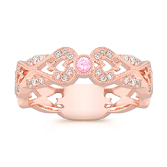 Center Bezel Set Round Pink Sapphire and Diamond Wedding Band in Rose Gold