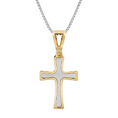 14k Two-Tone Gold Cross Pendant (18)