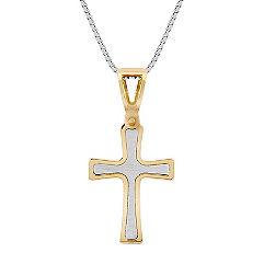 14k Two-Tone Gold Cross Pendant (18 in.)