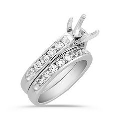 Cathedral Diamond Wedding Set with Channel Setting in 14k White Gold