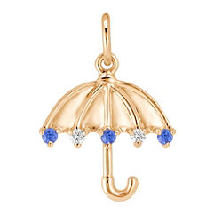 Round Kentucky Blue Sapphire and Diamond Umbrella Charm