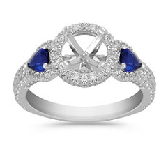 Halo Pear Shaped Sapphire and Round Diamond Engagement Ring