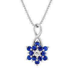 Round Sapphire and Diamond Pendant (18 in.)