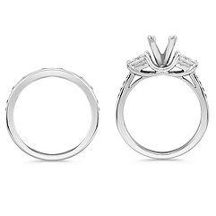 Three-Stone Cathedral Princess Cut and Round Diamond Wedding Set