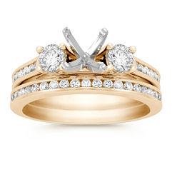 Three-Stone Cathedral Channel Set Diamond Wedding Set