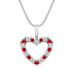 Round Ruby and Diamond Heart Pendant (18)