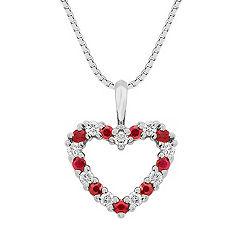 Round Ruby and Diamond Heart Pendant (18)