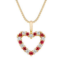 Round Ruby and Diamond Heart Pendant (18 in.)