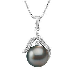 11mm Cultured Tahitian Pearl and Diamond Pendant (18 in.)
