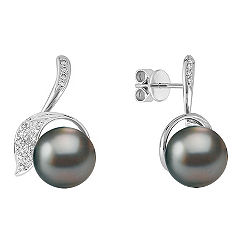 11mm Cultured Tahitian Pearl and Round Diamond Earrings