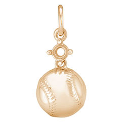 14k Yellow Gold Baseball Charm