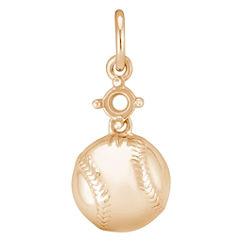14k Yellow Gold Baseball Charm
